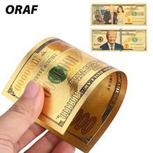 1 шт., античное покрытие, реалистичный Дональд Трамп и первая леди, антикварное позолоченное 24 к украшение для долларов, банкноты, высокое качество