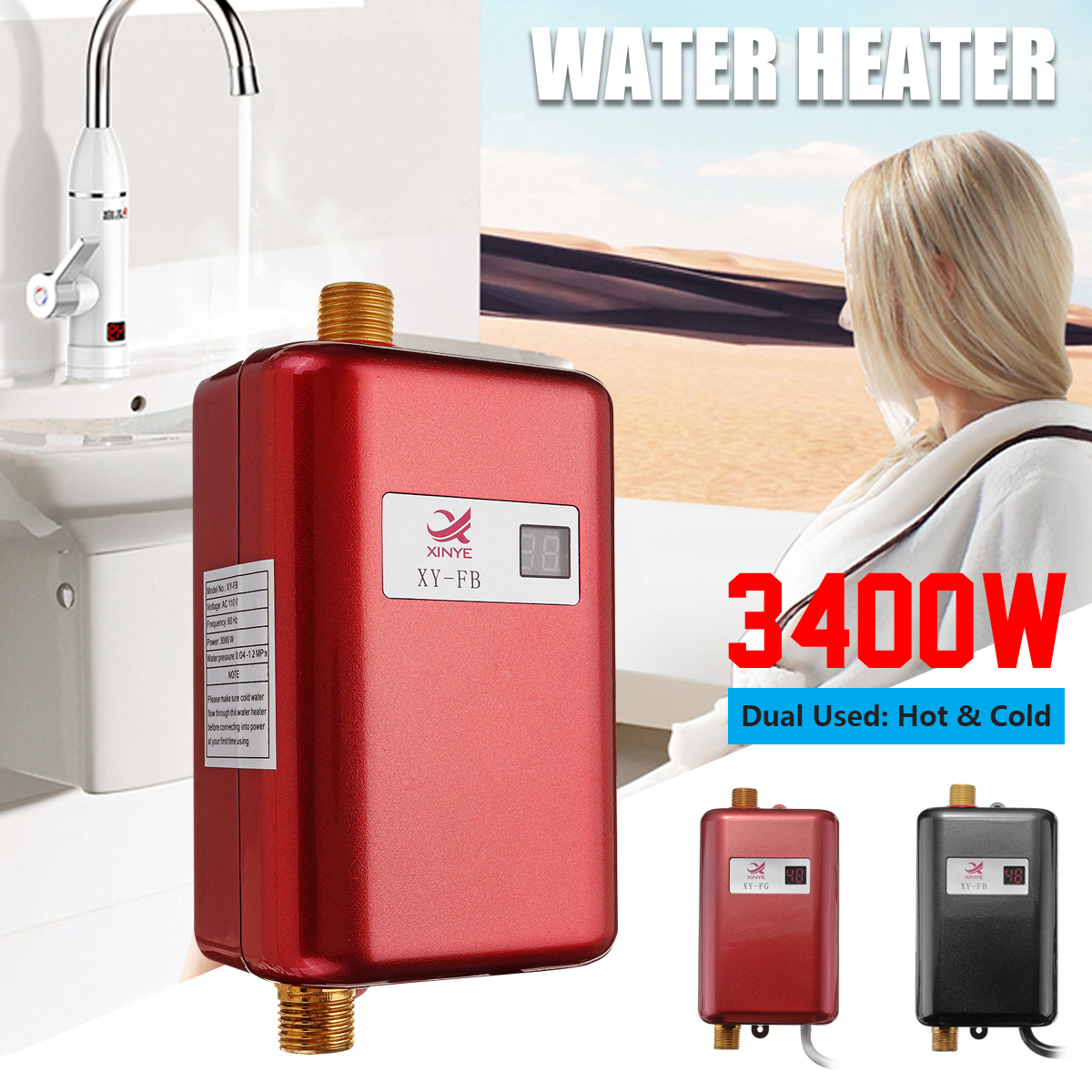 Mini Electric Tankless 3400W Instant Hot Water Heat