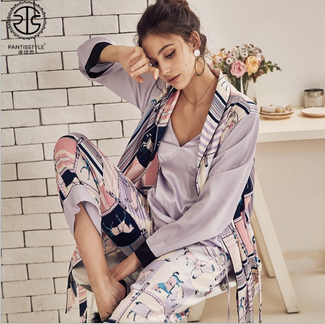 e9f36f975c 2019 New Spring and Autumn Women Printed Pajamas Suspenders + Robe +  Trousers Three-piece