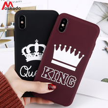 Moskado King Queen Phone Case For iphone 6 6s 7 8 Plus X XS Max XR  Couples Fashion Chic Cute Soft TPU Cover For iphone 5 5s SE цена и фото
