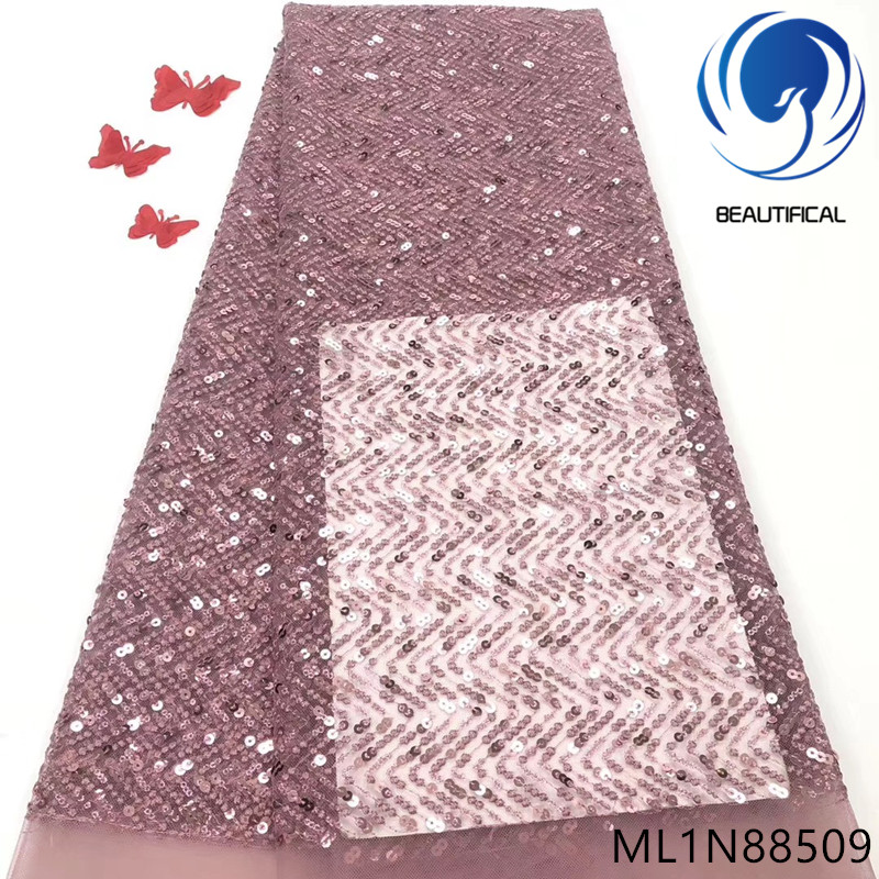 BEAUTIFICAL african lace fabric material sequins french tulle fabric 2019 african ML1N885BEAUTIFICAL african lace fabric material sequins french tulle fabric 2019 african ML1N885