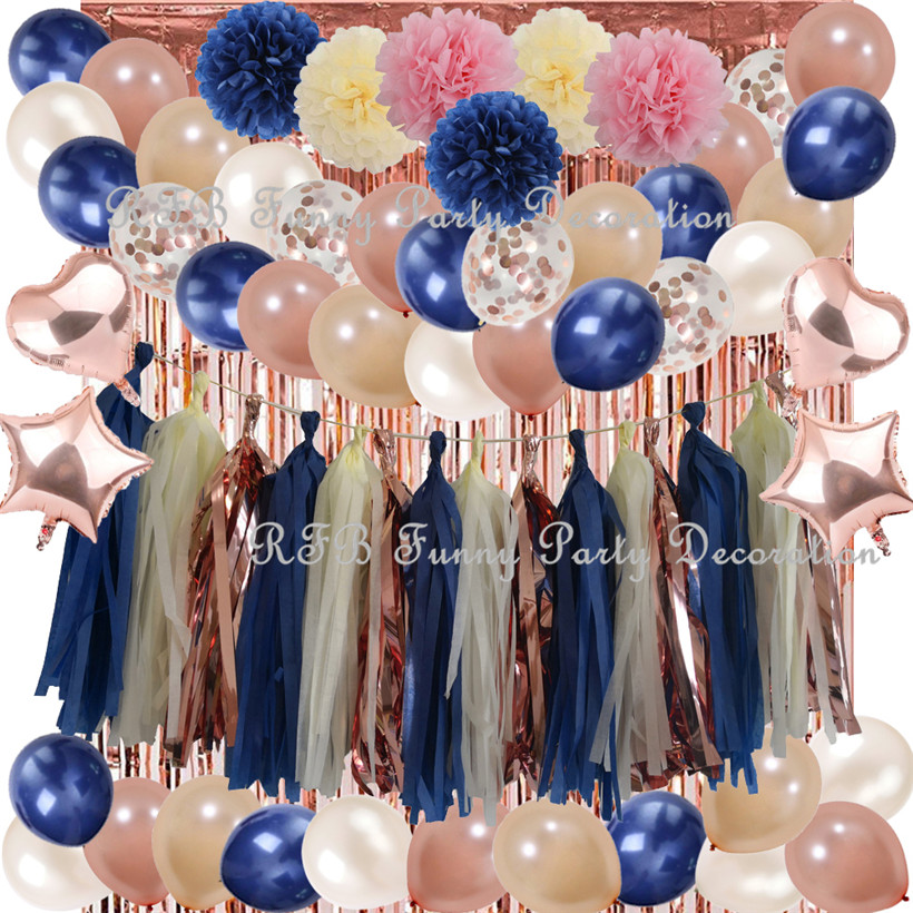Navy Blue&Rose Gold Party Balloons Decoration Paper Craft Products for Wedding Table Anniversary Event Party Christening Decor|Party DIY Decorations| |  - title=