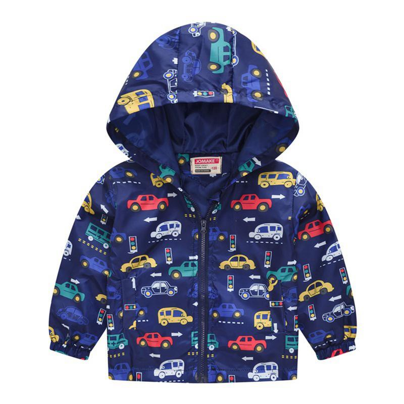 Fashion Children boy's Clothing Spring cartoon car printed  Coats For Girls Clothes Girls Jackets Kids hooded Outerwear 90-130cm