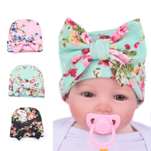 Newborn Baby Girls Toddler Comfy Bowknot Hospital Cap Lace Beanie Hat Turban UK