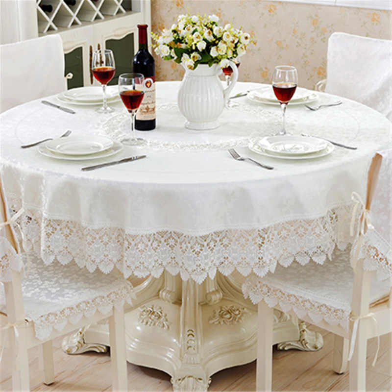 dcfbc771613 2019 New Hot Jacquard Table Cloth Manteles Bordados Wedding Home Decoration  Embroidered Lace Cloths Round Tablecloth