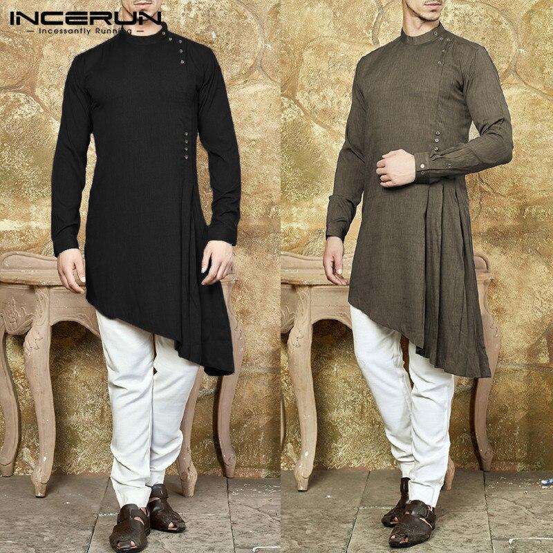 De moda el Islam Kurtas camisa de los hombres traje de manga larga vestido musulmán dobladillo asimétrico Kaftan Aaudi Arabia India islámica ropa Hombre