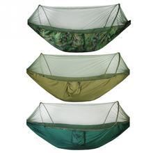 Hamaca de viaje para acampar portátil, doble/individual, resistente, cama colgante de tela de paracaídas con mosquitera