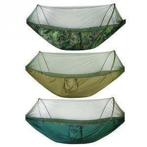 Image 1 - Çift/tek taşınabilir kamp seyahat hamak mukavemetli paraşüt kumaşı asılı yatak cibinlik ile