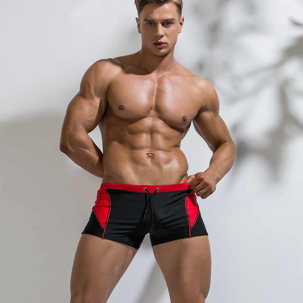 2019 ملابس الرجال مثير مثلي الجنس ملابس السباحة رجل السباحة جذوع سراويل بوكسر ثوب السباحة سونغا بحر السراويل الإملائي اللون السباحة ملخصات