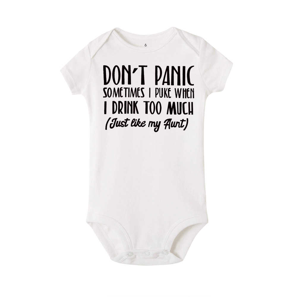 1c9e3dff05272 2019 Baby Bodysuit White Onesie Don't Panic Just Like My Aunt Letters Print  Little Girls Boys Clothes Summer Cotton Outfits