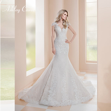 Ashley Carol Mermaid Wedding Dress Cap Sleeve Court Train