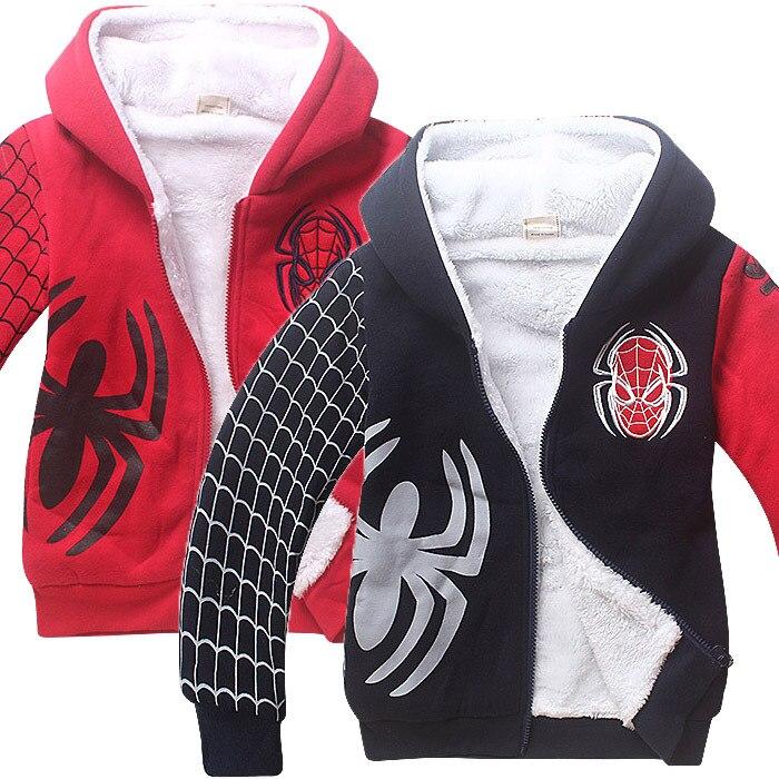 Clothing Spiderman Winter Jacket Double-Coat Boys Kids Cartoon Velvet Red Black Cotton