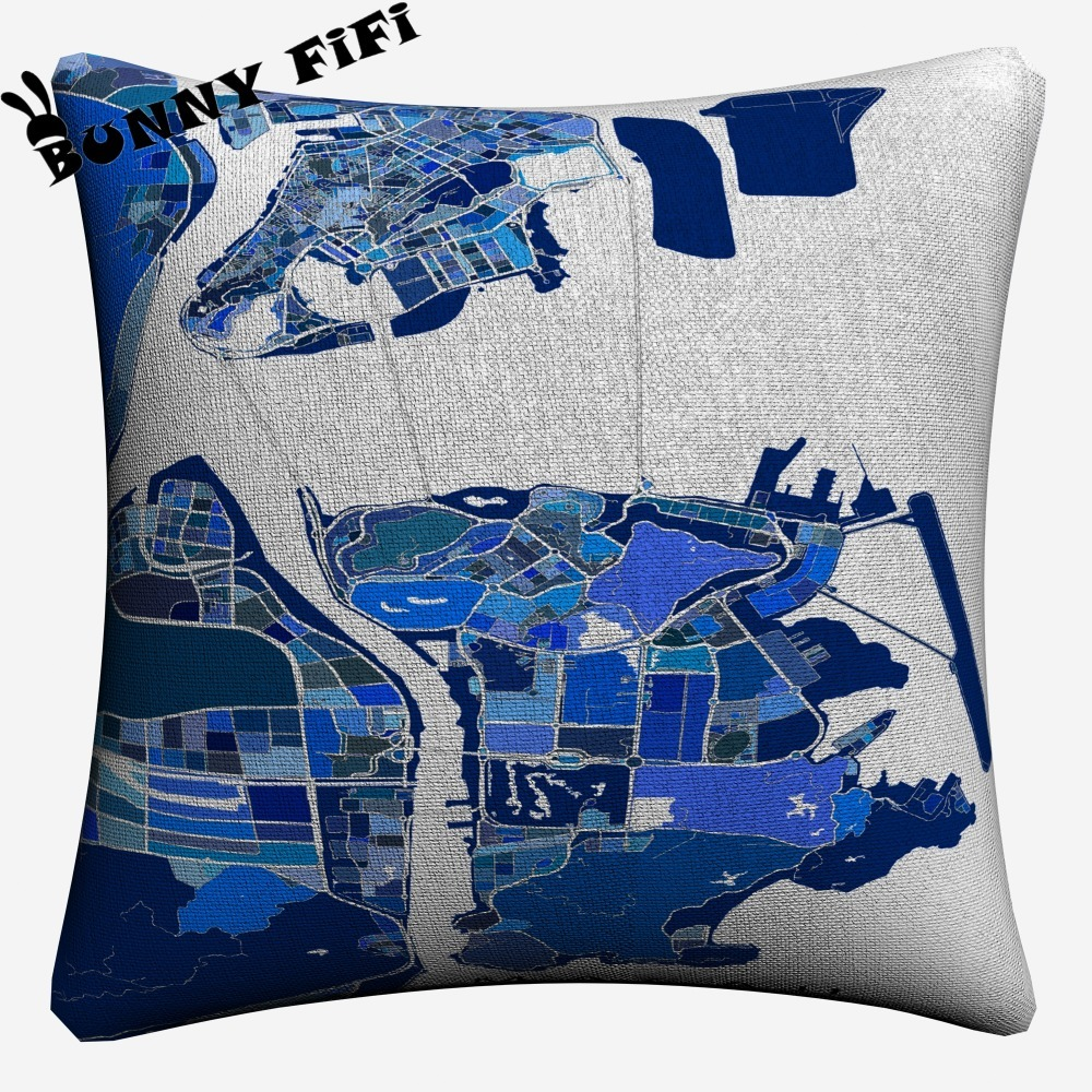 Abstract Map Artwork Soft Cotton Linen Cushion Covers 45x45cm Vintage Pillowcase For Sofa Home Decoration in Cushion Cover from Home Garden