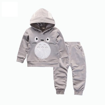 Spring Autumn Children Boys Girls Cartoon Clothing Sets Baby Velvet Hoodies Pants 2Pcs/Sets Fashion Kid Cotton Clothes Tracksuit цена 2017