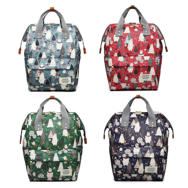 Waterproof Mummy Bags Cartoon Print Diaper Bag Backpack Large Capacity Outdoor Zipper Nursing Bag