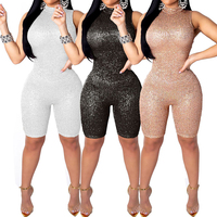 sexy women Sequins Jumpsuit Sleeveless Off Shoulder High Waist Crystal Jumpsuit Romper Short Trousers Party Clubwear
