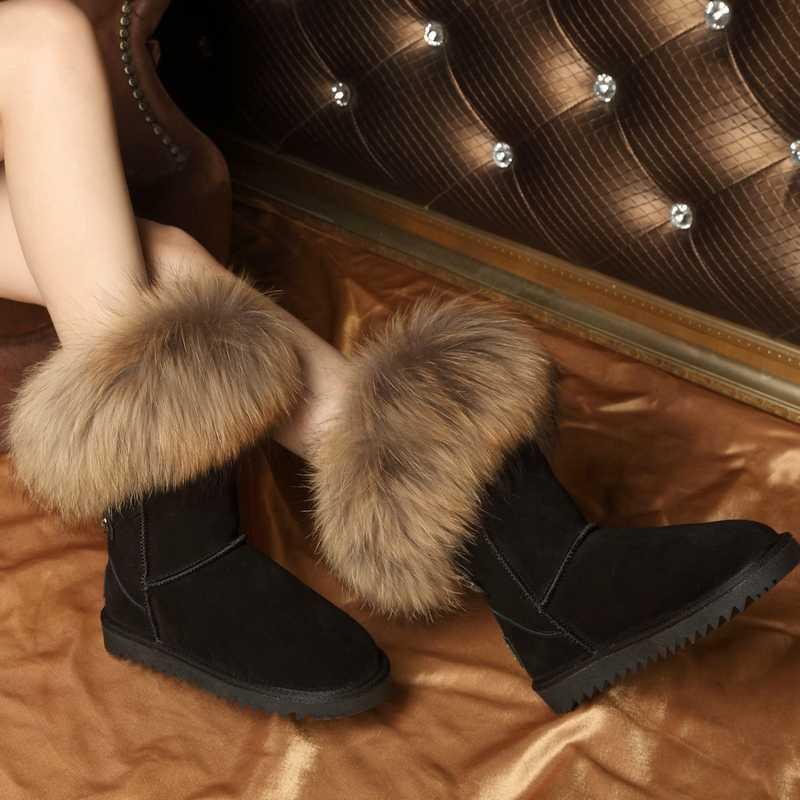 RUIYEE bayanlar yüksek çizmeler deri çizmeler büyük boy tilki kürk uzun çizmeler bayan botları 2018 yeni inek derisi kar botları