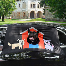 Pet Dog Safety Car Printed Window Fence Curtain Visor Shade Cover