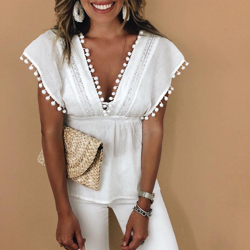 Women Ladies Tassels Deep V Neck Lace Sexy   Tops   Sleeveless Loose Casual Summer Solid White   Tank     Top