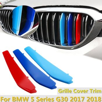 3Pcs Tri-color Car Front Grill Sticker Bumper Grille Cover Trim Buckle for BMW 5 Series G30 2017 2018