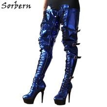 цена на Sorbern Sexy Fetish Boots High Heel 15Cm Platform Thigh High Boots Burlesque Heel 80cm Crotch Cosplay Goth Punk Blue Metallic