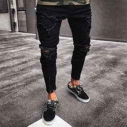 Мужские стильные дизайнерские брендовые черные джинсы обтягивающие рваные стрейчевый Облегающий Брюки в стиле хип-хоп с дырками для