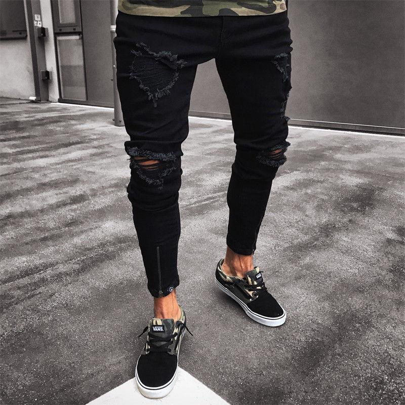 Homens legal designer marca jeans preto rasgado magro destruído estiramento magro caber hop calças com furos para homem