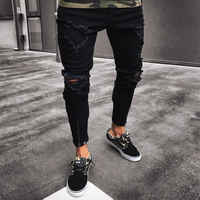 Męskie fajne projektant marki czarne dżinsy Skinny zgrywanie zniszczone Stretch Slim Fit Hop Hop spodnie z otworami dla mężczyzn