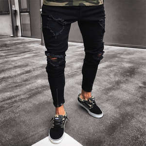 hirigin Black Jeans Skinny Ripped Stretch Pants For Men