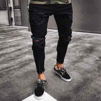 Mens Kühlen Designer Marke Schwarz Jeans Dünne Zerrissene Zerstört Stretch Slim Fit Hop Hop Hosen Mit Löchern Für Männer