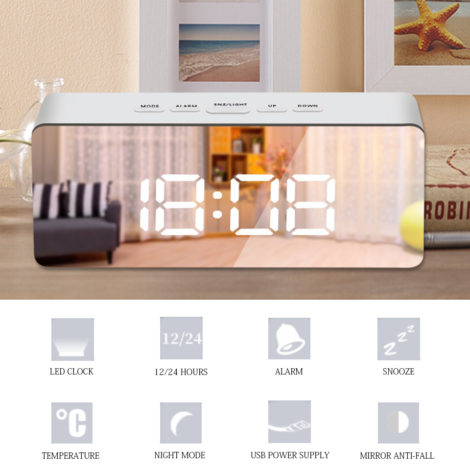 Image 2 - Led Mirror Alarm Clock Digital Snooze Table Clock With Thermometer USB Rechargeable Large Electronic Display Multifunction-in Alarm Clocks from Home & Garden