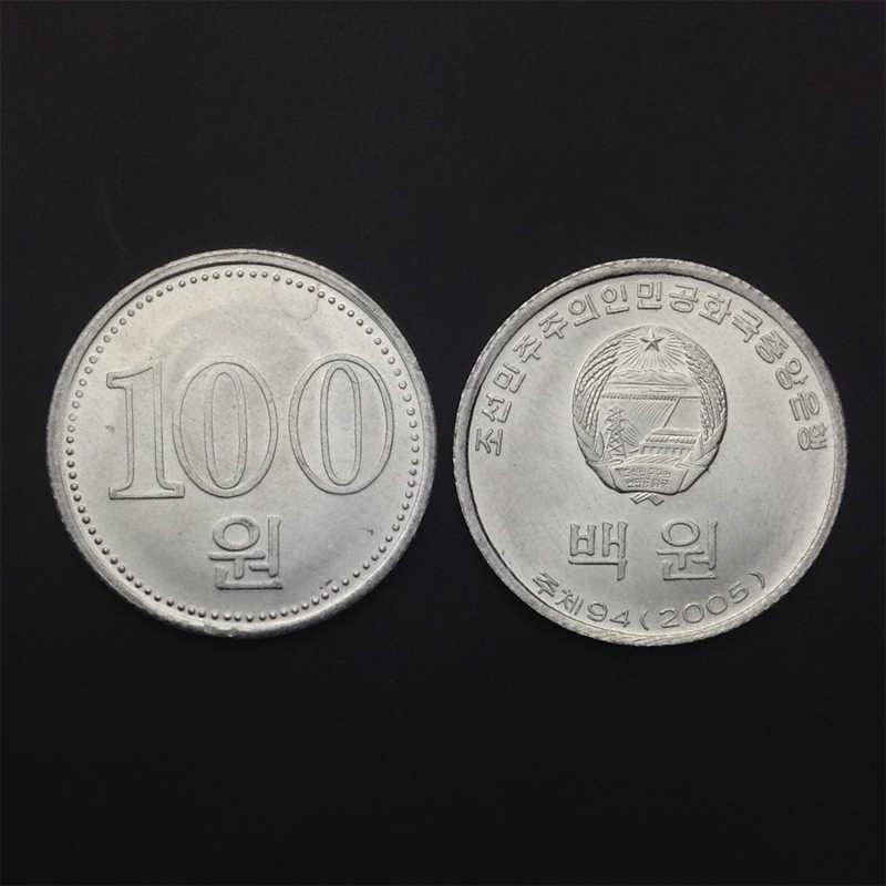 A Coreia Do norte 100 Ganhou Moeda, um Único, UNC, Uncirculated, Ásia Colecionáveis Presente, 100% Real Genuine Moedas originais