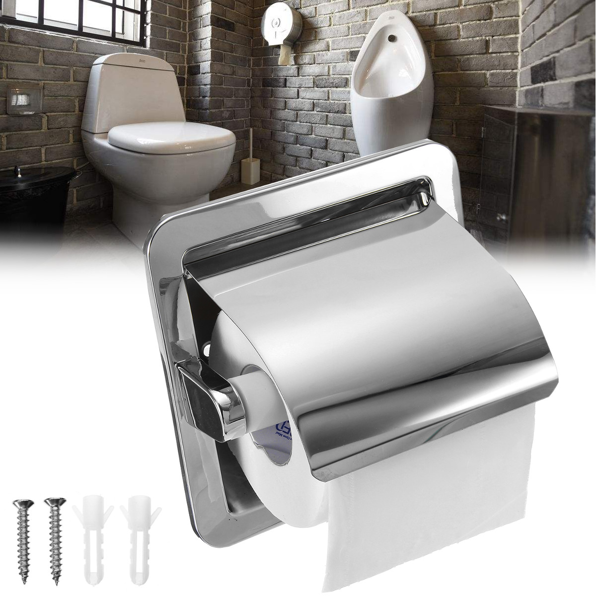 Stainless Steel Bathroom Toilet Roll Paper Holder Box Concealed Wall Mounted Recessed Wall Embedded