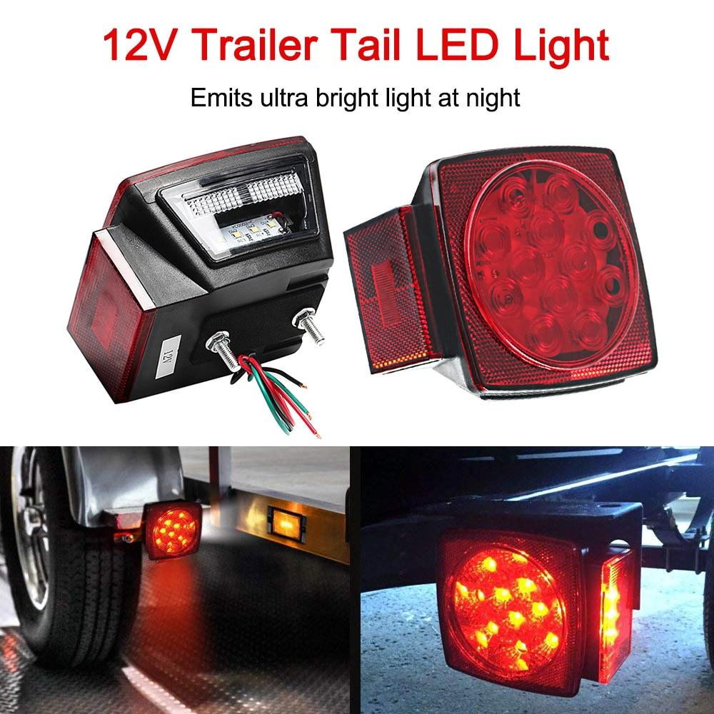 12V Trailer Tail LED Light Kit Super Bright Brake Stop Warning Lights Tail License Lights