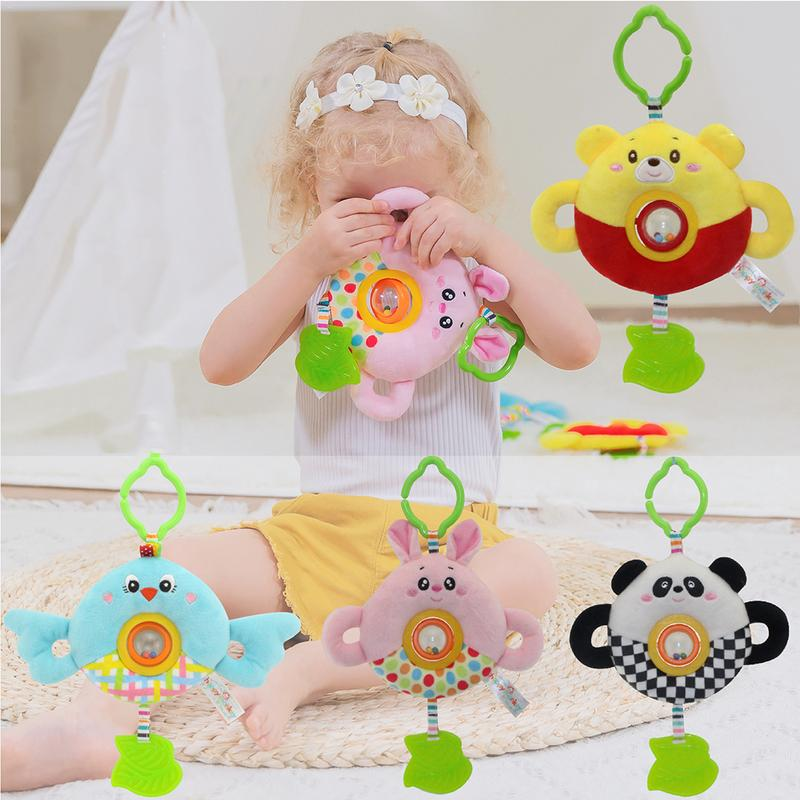 Rotated Beads Cartoon Animal Doll Baby Toy Bed Hanging Pendant Round Bed Bell Plush Rattle