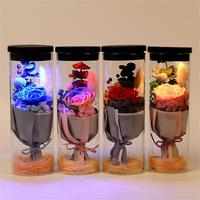 Rechargeable Valentines Day Anniversary Birthday Christmas Everlasting Flower Glow Wishing Bottle Colorful Rose Led Lights