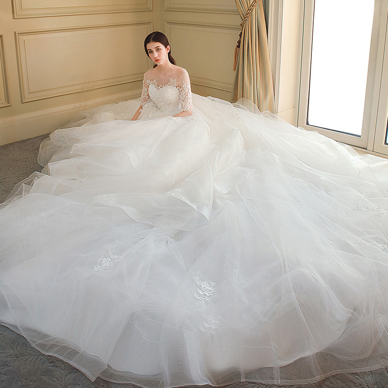 Mingli Tengda Lace Bride Wedding Dress Scoop Neck Half Sleeve Wedding Dresses Appliques Tiered Sexy Backless Ball Gowns Mariage