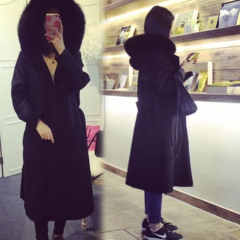 D'hiver Veste Black Parkas black À Femme Longue Femmes De Cotton Manteau Capuchon Manteaux Fourrure Plus Chaud Laine C2669 2018 Col Automne q84vwTB7x