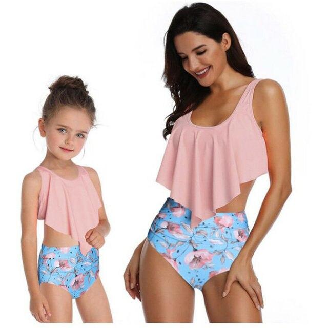 Family Matching Swimwear Mother Daughter Swimsuit Women Hight Waist Tankini Kids Girls Summer Swimming Bathing Suit Beachwear
