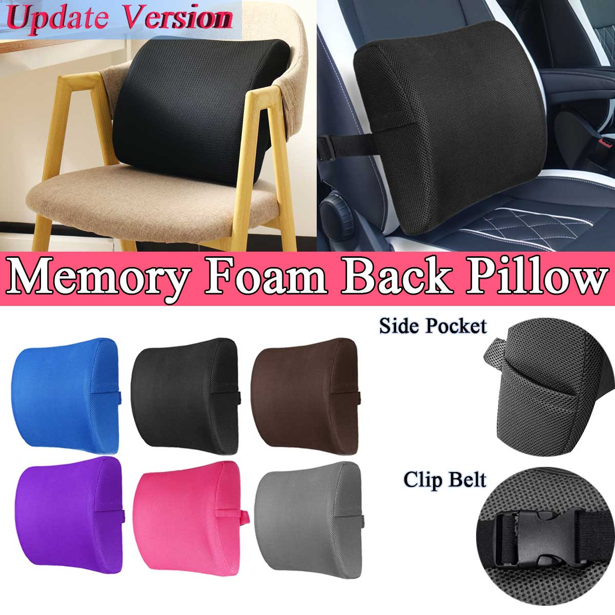 6 Color Soft Memory Foam Car Seat Winter Pillows Lumbar Support Back Massager Waist Cushion For Chairs Home Office Relieve Pain