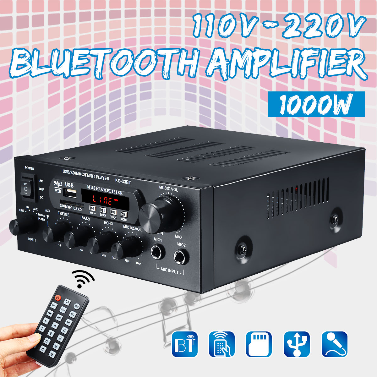 110V ~230V 1000W Home Amplifiers Audio Hifi Bass Audio Power Amplifier Home Theater Amplifier For Subwoofer Speakers