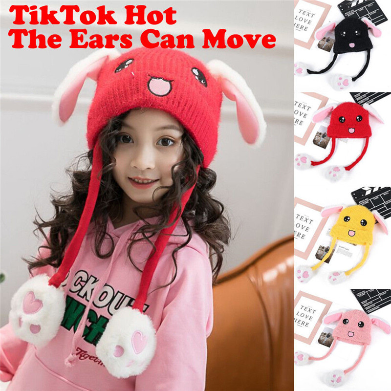 Obedient Childrens Vibrating Wool Caps Pinch Long Ears Bunny Will Move Baby Hat Boys And Girls Warm Toy Cap Electric Soldering Irons