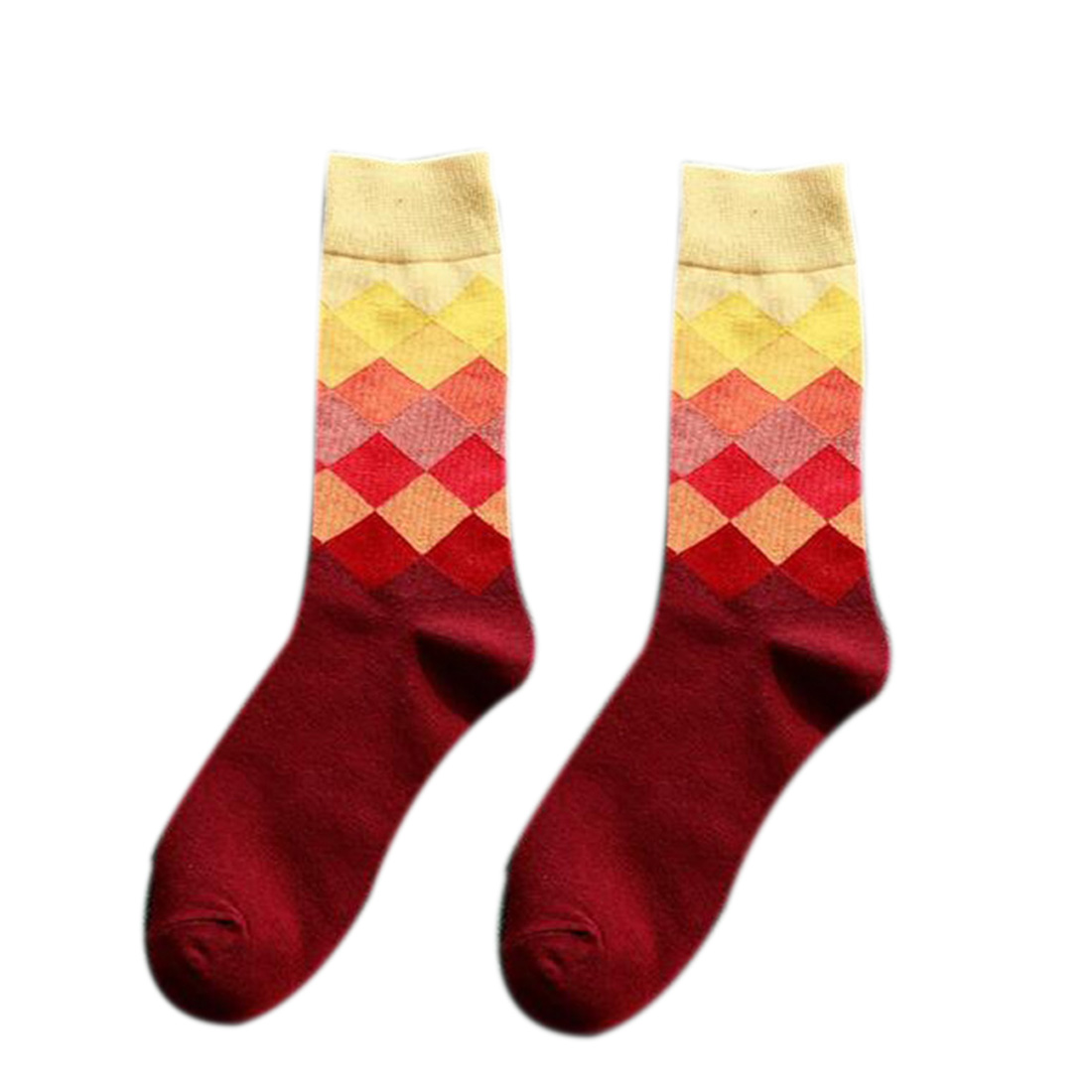 New Man SocksCombed Cotton Colorful Funny Socks Novelty Stripes Gradient Diamond Lattice Cross Grid Colored Diamond Men 39 s Socks in Men 39 s Socks from Underwear amp Sleepwears