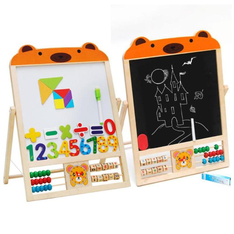 2 IN 1 KIDS Wooden Blackboard Easel Stand Learning Board Vinyl Draw Chalkboard + Whiteboard With Wooden Stand Teaching Set