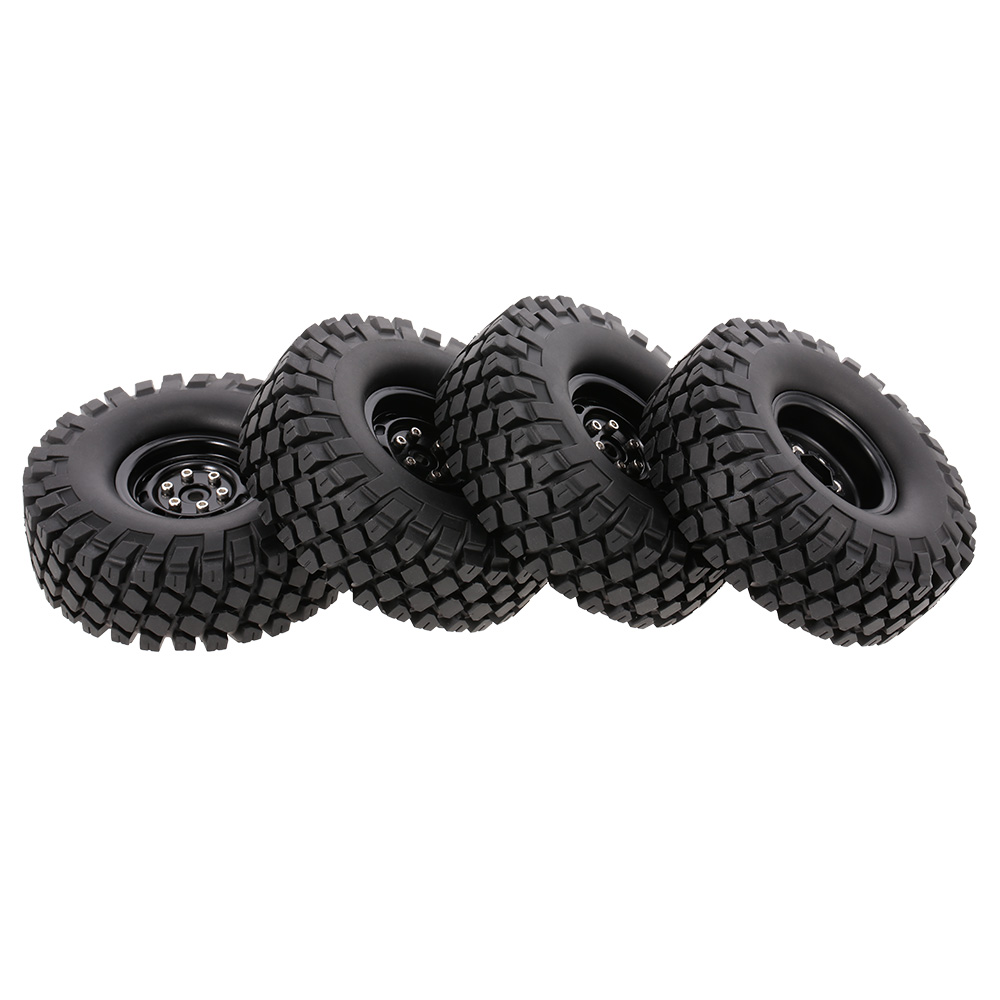 4pcs RC Car 6020+618BK 115mm Rim Rubber Tyre Tire Wheel Set for Traxxas 1:10 HSP HPI TRX-4 SCX10 RC4 D90 RC Rock Crawlers injora 70 30mm 4pcs plastic wheel rim & rally tire for 1 10 rc car tamiya hsp hpi 4wd rc on road car