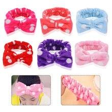 Flannel Soft Bow Headbands Round Dot Wash Face Headband Women Girls Holder Turban Hairbands Hair Accessories