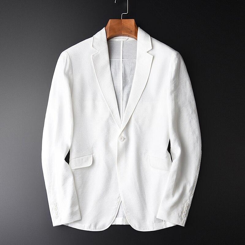 Minglu Blanc Blazer Mâle Soyeux De Luxe Mince Confort Mens veste Blazer Hight Qualité Unique Poitrine Slim Fit veste pour homme décontracté