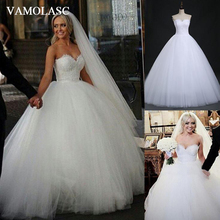 VAMOLASC Elegant Strapless Ball Gown Lace Wedding Dresses Embroidery Off The Shoulder Tulle Backless Bridal Gowns