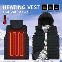 3 Gear Adjustable Men's Heating Sleeveless Vest Full Zipper Women Winter Heated USB Hooded Work Jacket Waistcoat Windproof Cloth