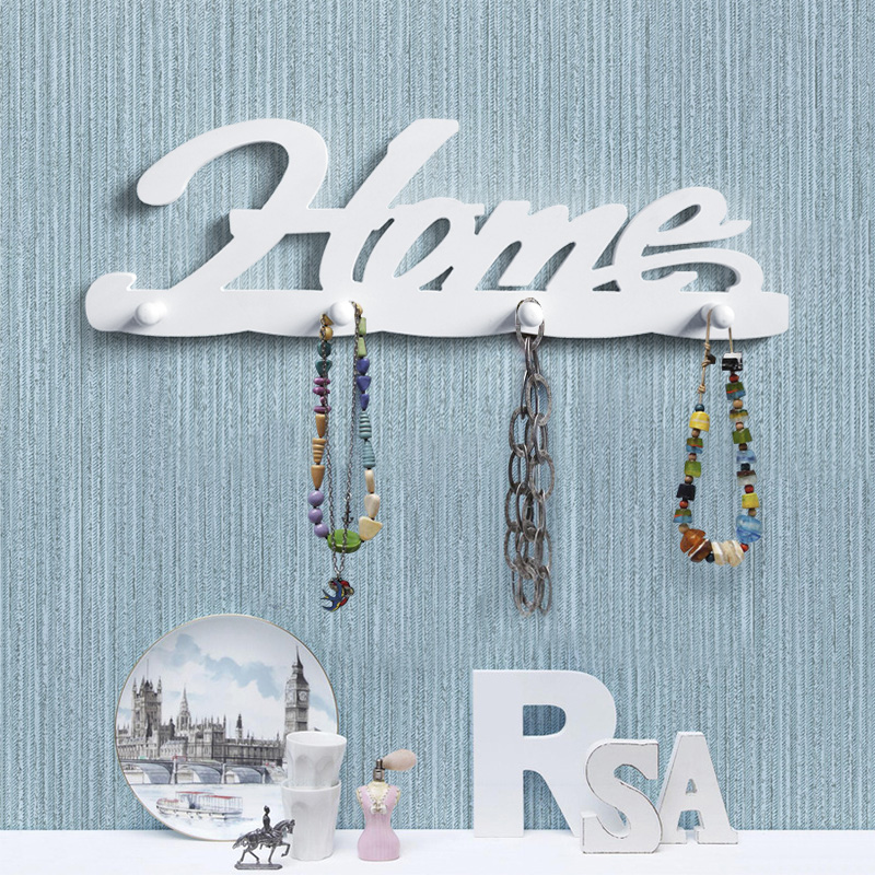 Wood hooks for towels in bathroom kids room robe letter home love hanging clothes wall hook hanger decoration